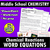 Writing Chemical Word Equations Worksheet and PowerPoint