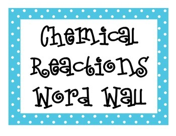 Chemical Reactions Word Wall