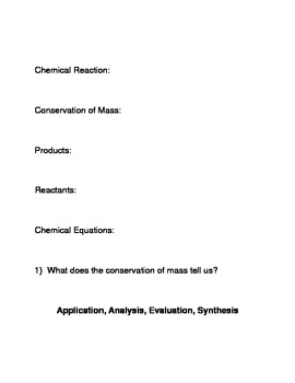 Chemical Reactions and Equations Common Core Reading and Writing Activity