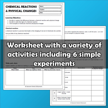 Chemical Reactions and Physical Changes MS-PS1-2