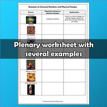 Chemical Reactions and Physical Changes PowerPoint and worksheet