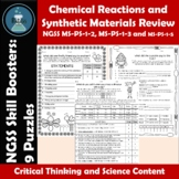 Chemical Reactions and Synthetic Materials Review Puzzles NGSS Skill Boosters