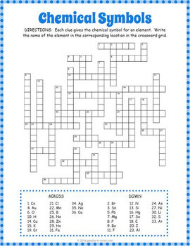Chemical symbols crossword puzzle by puzzles to print tpt chemical symbols crossword puzzle ccuart Gallery