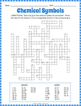 Chemical Symbols Crossword Puzzle