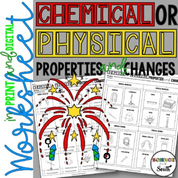 Chemical VS Physical Properties and Changes Worksheet for Review or Assessment
