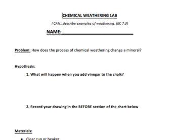Chemical Weathering Lab Sheet