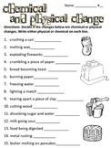 Chemical and Physical Change WS