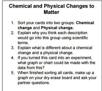 Chemical and Physical Change Word Sort