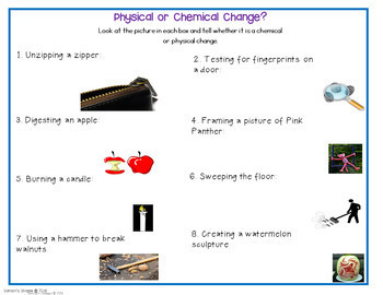 Chemical and Physical Changes Unit of Digital, Printable and Hands-on Activities