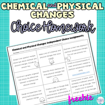Chemical and Physical Changes Choice Activity Sheet Great for Homework or Review