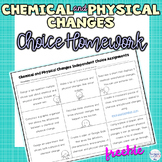 Chemical and Physical Changes Choice Activity Sheet Great