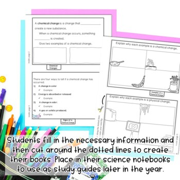 Chemical and Physical Changes Flip Book Review Activity