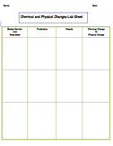 Chemical and Physical Changes Lab Sheet