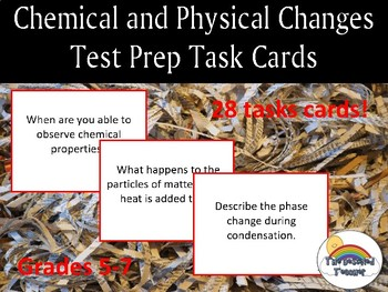 Chemical and Physical Changes/ Reactions Task Cards Test Prep Review Activity