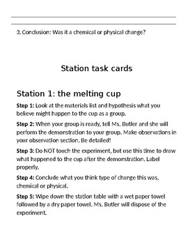 Chemical and Physical Changes Station Activities