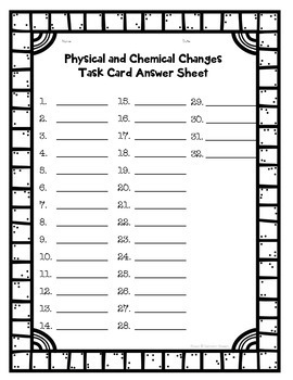 Chemical and Physical Changes Task Card Activity