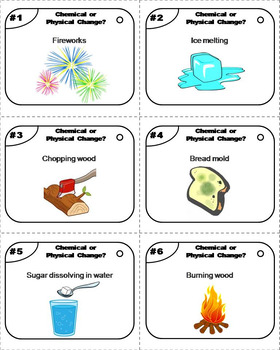 Chemical and Physical Changes Task Cards (Properties of Matter Unit)