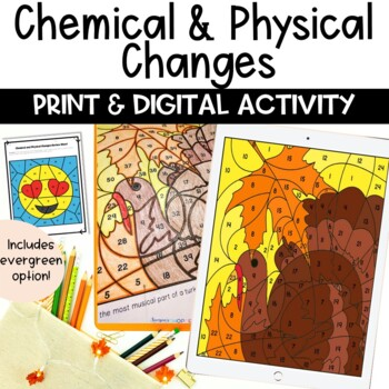 Chemical and Physical Changes Thanksgiving EDITABLE Color Number Review Activity