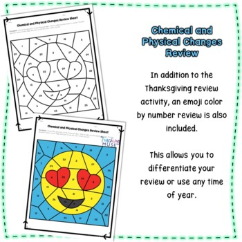 Chemical and Physical Changes Thanksgiving EDITABLE Review Activity