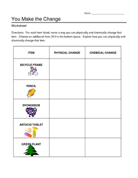 Chemical and Physical Changes Worksheet by jjms | TpT