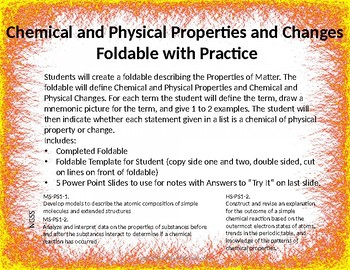 Chemical and Physical Properties and Changes Foldable with Practice