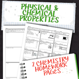 Chemical and Physical Properties of Matter Homework Worksheets
