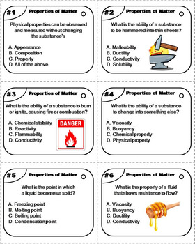 Chemical and Physical Properties of Matter Task Cards: Mass, Volume, Density etc