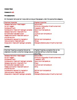 Chemical and Physical Property Card Sort Activity and Assessment
