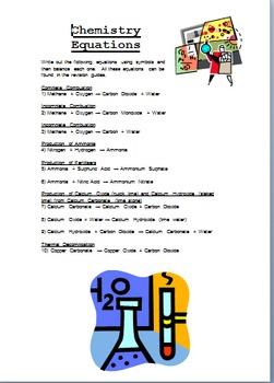 Chemical equation work set