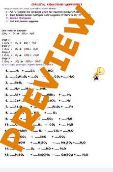 Chemical equations balance worksheets(atom numbers)
