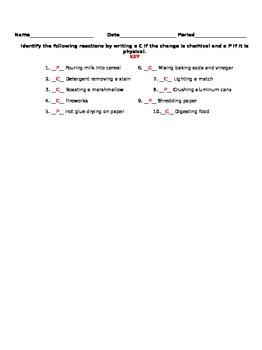 Chemical or Physical Change Exit Slip
