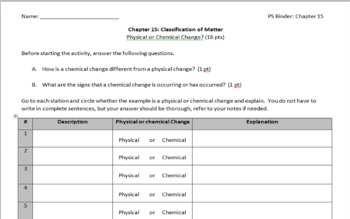 Chemical or Physical Change Identification Stations