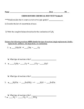 Chemical reaction test
