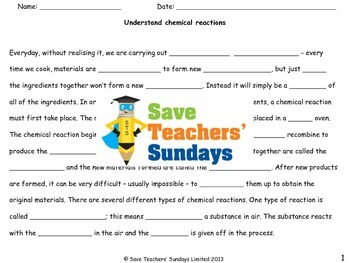 Chemical reactions (basic introduction) Lesson plan and Worksheet