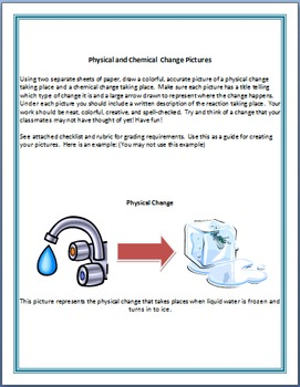 Chemical/Physical Change Project w/ Rubric {NGSS Aligned}
