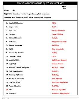 Chemistry 11 Quiz - Ionic Nomenclature
