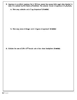 Chemistry 11 Quiz - Mole Conversions Level 2
