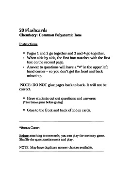 Chemistry: 20 Common Polyatomic Ions Flash Cards/Memory Game