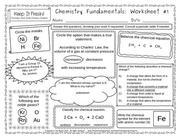 Middle School Chemistry Worksheets