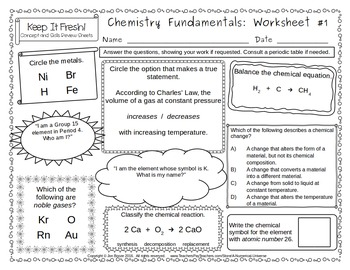 Basic Chemistry Worksheets: Elements, Compounds, Balancing Equations and More!