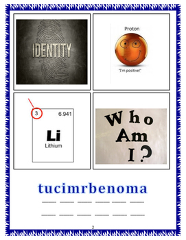 8th Grade STAAR Review game Chemistry ~ 4pic one word Vocabulary review game