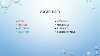 Chemistry: An introduction to the Periodic Table and the Atom