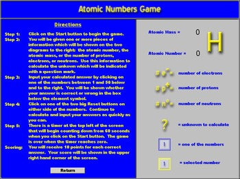 Chemistry - Atomic Numbers Game Software - PC & MAC Flash Version