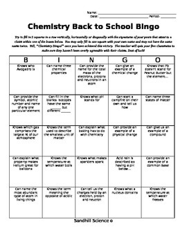 Chemistry Back to School Bingo Printable