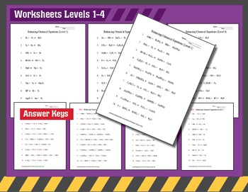 Chemistry: Balancing Chemical Equations Worksheets