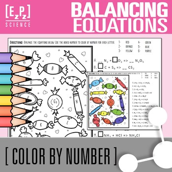 Chemistry Balancing Equations- Color by Number Candy