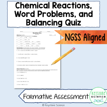 Chemistry Balancing Writing Equation Types Quiz with KEY