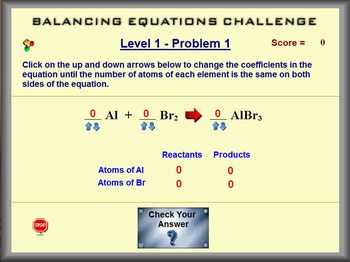 Chemistry - Ballancing Equations Challenge - PC Version