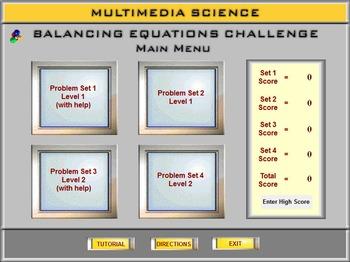 Chemistry - Ballancing Equations Challenge - PC & MAC Flash Version