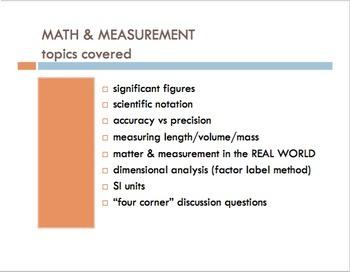 Math and Measurement Bell Work (20 slides) -Chemistry- editable